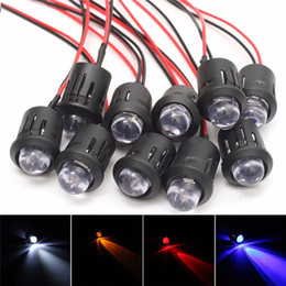 Wholesale pre wired led red - 12V 10mm Pre-Wired Constant LED Ultra Bright Water Clear Bulbs Red   Yellow   Blue   White