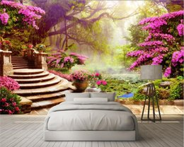 Wholesale Custom Landscapes - Custom Photo 3D Wallpaper Mural Wall Sticky Garden Tree Landscape 3d Background Wall papel de parede