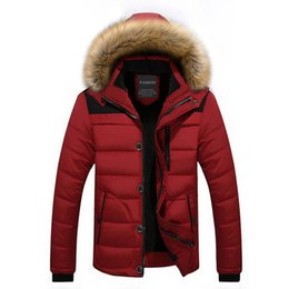 Wholesale Men Fur Thickening Coat - 2017 Winter Jacket Men Casual Cotton Parka Coat Men Fur Collar Warm Hooded Parka Thicken Jacket Outwear Plus Size 4XL