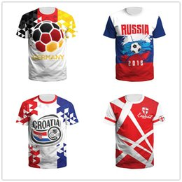 england team shirts Canada - Fashion New Russian World Cup Jersey T-shirt National Football Team England Germany Portugal France Croatia Footballing T-shirt Wholesales