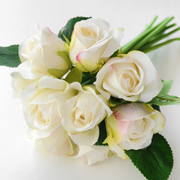 Wholesale silk rose flower bunches wholesale - 10pcs  Bunch European Artificial Silk Rose with Leaves Bride Holding Flower Home Wedding Decoration Bouquet Fake Flowers