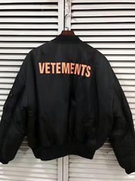 2019 джастин бибер куртки Новый MA1 бомбардировщик куртка женщины мужчины двусторонняя одежда Vetements письмо негабаритных Джастин Бибер куртка полет ветровка пальто XS-L дешево джастин бибер куртки