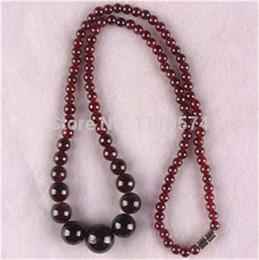 natürliche granat perlenkette Rabatt Heiße freie neue schöne natürliche 5-11mm Granat Schmuck Perlen Halskette 18