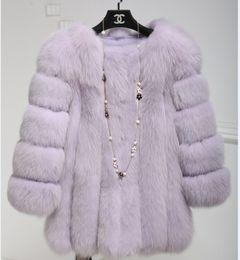 Wholesale Cheap White Fur Coats - 2018 Cheap Long Fur Coat Winter Sleeves Fashion Women Faux Fox Fur Coats Furry Woman Fake Fur Jacket Plus Size Coat MM91