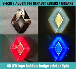 9.4 см*7.55 см автомобиль эмблема свет для Renault koleos megans знак стикер светодиодные 4D логотип эмблемы свет от