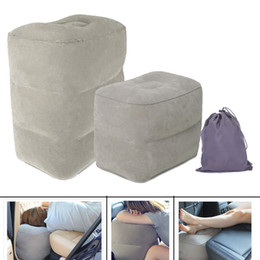 Wholesale Travel U Shape Pillow - Wholesale 45*40cm Innovative 3 Layers Inflatable Travel Footrest on Airplane Gray Blue Flight Cushion Foot Leg Pressure Relieving Pillow