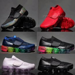 Wholesale Child Knitting - Kids children vapormax Boy girl baby Shoes Hook & Loop rainbow black multi white knit trainers Air cushion sneakers running shoes sieze28-35