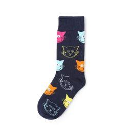 носки для животных Скидка Животное с принтом 4 пары женщин счастливые носки смешное лицо кошки индивидуальные женские короткие носки зима весна модные милые животные девушки хлопчатобумажные носки Meias
