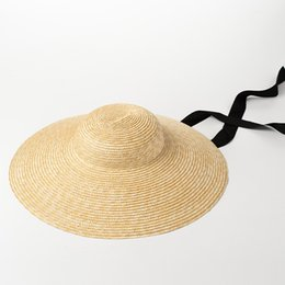Wholesale Vintage Straw Hats - Wide Brim Sun Hat for Women 2018 Summer Beach Straw Hats for Ladies Vintage Bucket Hats with Ribbon Ties 681025