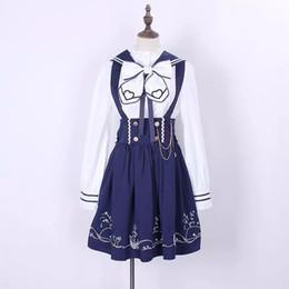 Las mujeres azul marino Vintage Monos plisada falda blusa Top Lolita ropa Set Outwear traje japonés estudiante para damas desde fabricantes