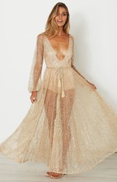 sexy robe transparent Rabatt Long Gold Transaparent Tunika Robe Kleid Abendgesellschaft Formal Wear Langarm Kleid tiefem V-Ausschnitt transparent langes Abendclubkleid