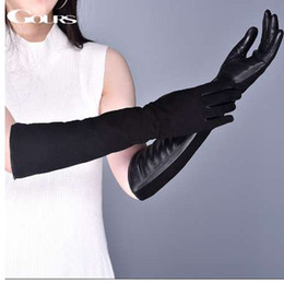 35f6f0f0d7b7 Gours Women s Genuine Leather Gloves Winter Warm Suede Goatskin Touch  Screen Long Gloves Fashion Sheepskin Mittens New GSL080