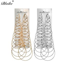 earrings for girls double sided Coupons - Blaike 12 Pairs Set Multi Sizes Gold Silver Filled Hoop Earrings For Women Girls Big Round Double Sided Earring Circle Jewelry
