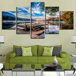 Pitture paesaggistiche online-5 pezzi Forest Bridge Stand Lago Early Morning Scenery Paintings Camera Prints Poster