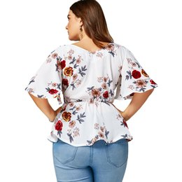 Wholesale plus size peplum belt - Gamiss Plus Size Floral Belted Surplice Peplum Blouses Shirts Women Blouses Sexy V Neck Flare Sleeve Beach Chiffon Ladies Tops