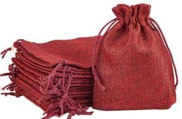bolsos del favor de borgoña Rebajas Borgoña Rojo 7x9cm 9x12cm 13x18cm 10x15cm Mini Bolsa Bolsa de yute Ropa de cáñamo de lino Regalo Bolsas con cordón para la boda favores, perlas