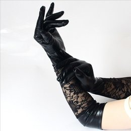 Fetiche de encaje online-1 par caliente negro largo exótico sexy guantes de encaje codo club nocturno de encaje conjunto guantes de cuero de patente arnés fetiche catsuit cosplay