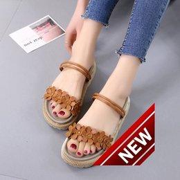 Wholesale Latex Clothes Men - 2018 Xia Xinkuan Flange Two Clothes Sandals Sponge Cake With Magic Stick Toe Flower Sen Schoolgirl Generation Hair flip flops for women