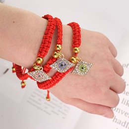 bracelet en gros de soins infirmiers Promotion Chanceux Hamsa Mal Protéger La Kabbale Rouge Bracelets De Cordes Cristal De Mauvais Yeux Bijoux