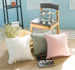 Wholesale pure cotton bedding - INS Solid Pillow Case Ball Decorative Cushion Covers Pure Cotton Pillow Covers Creative Home Bedding Decor 3 Colors YW485