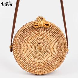 e3316d74cf LEFUR New Women Round Straw Handbag Female Summer Rattan Bag Handmade Woven  Shoulder Bags Ladies Casual Beach Handbags bolsas cheap straw handbag beach  bag