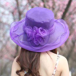 Wholesale Women Church Dresses - Women Church Sun Hat Wide Brim Cap Wedding Dress Tea Party Floral Beach Caps Summer Anti-Sun Hat