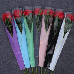 bolsas de regalo de plástico de colores Rebajas Solo Rose que envuelve la flor del bolso colorido espesa las flores plásticas que empaquetan las bolsas favor y el regalo QW7007 del partido