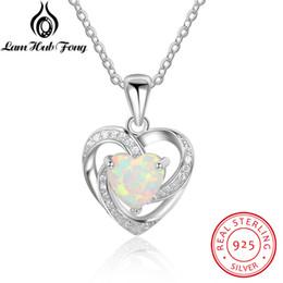 Réel 925 Sterling Silver Heart White Feu Opale Pendentif Collier Avec Zircon Cubique Fine Bijoux Cadeau pour Femmes (Lam Hub Fong) S18101105 ? partir de fabricateur