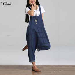 74ae1f8d657d Celima 2018 Vintage Womens Denim Jumpsuits Palazzo Pants Rompers Sleeveless  Backless Pockets Front Overalls Strapless Paysuits
