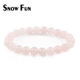 2019 rosenquarzperlen 8mm Schnee Spaß Schöne 8mm Rosenquarz Perlen Armband für Frauen Geschenk Schmuck günstig rosenquarzperlen 8mm