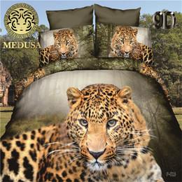 Wholesale 3d Doona Covers - Medusa 3d digital leopard bedding set doona duvet cover bed sheet pillow cases 4pcs queen size bed linen set