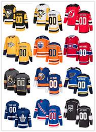 caballeros azules Rebajas Custom 2018 New Style Hockey Jerseys Pittsburgh Penguins Nashville Predators Oilers Knights Rangers Burnis Blues Maple Leafs cualquier número de nombre