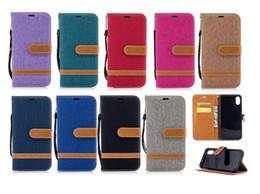 portefeuille iphone denim Promotion Jeans Denim Canvas Card Wallet Flip Housse en cuir pour iPhone XS Max 8 7 6S Plus Samsung S7 S8 S9 S10e Plus Samsung M10 M20 M30