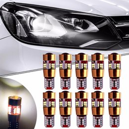 Wholesale W5w Cree Led - 10Pcs Car-styling T10 W5W 194 LED Canbus Yellow 27SMD 4014 Chip for Cree Lamps Auto Parking Backup Reverse Lights No Error Bulbs