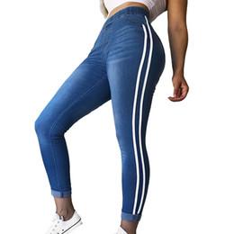 e07de21700d6 New Hot Femmes Casual Taille Élastique Stretch Skinny Jeans Dames Poches  Côté Rayé Sangles Denim Pantalon Mince Pieds Pantalon Jambe
