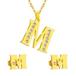 Старинные Нержавеющей Стали Первоначальный Алфавит M Письмо Ювелирные Наборы Классический Стиль Bling Кристалл Золото Ожерелье И Серьги от