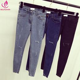 Wholesale Korean Women S Casual Wear - BellFlower Women Casual Fashion Jeans Korean Slim High Waist Jeans Pant Scratch Worn Stretch Pencil XXL Plus Size