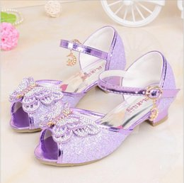 Wholesale Silver Shiny Heels - 2018 Summer Children's Sandals Little Princess Korea Shiny Silver Purple Girls Performance Shoes Butterfly Girls High Heels