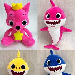 Wholesale cute animals videos - Creative Style Shark Plush Toys PINKFONG Cute Cartoon Stuffed Fox Dolls Toy Baby Animal Gift Hot Sale 28td WW