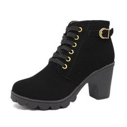 Wholesale Yellow Motorcycle Boots - 2018 New High quality woman boots fashion thick heel motorcycle female black Martin boots shoes zapatos mujer ankle platform punk