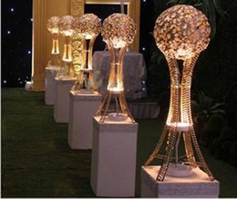 Wholesale Crystal Ball Centerpieces - H27in Globe stand of wedding Event table tall centerpieces SILVER or GOLD ,Crystal metal ball candle holder