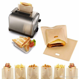 Wholesale sandwiches bags - 2018 PTFE Sandwich Toasters bread cake Bag reusable non stick baking bag barbecue microwave oven Fries Heating bag BBQ bags 16*16.5cm