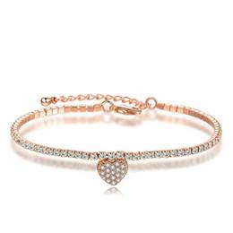white rose charm for bracelet Australia - New Fashion Women Charm Bracelet 18K Rose White Gold Plated AAA CZ Love Heart Bracelets for Girls Women for Part Wedding BRC-193