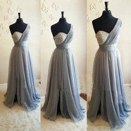 Wholesale White Flowy Dresses - Silver Gray One Shoulder Bridesmaid Dresses Crystal Beaded Pleated Chiffon Floor Length Flowy Purple Wedding Guest Dresses Maid Of Honor