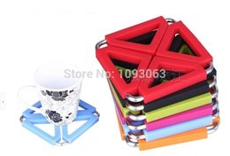 Wholesale Iron Pots Holder - Wholesale- Pack of 6 Silicone Stainless Steel Trivet Insulation Mat Heat Resistant Coasters Foldable Pan Pot Iron Holder