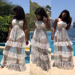 Ver la playa del vestido online-BKLD correa de espagueti de las mujeres vestido de playa de verano club nocturno vestidos de fiesta de volantes sexy ver a través de vestido largo de malla escarpada maxi