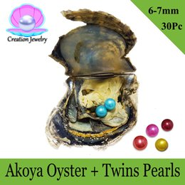 Wholesale Round Akoya Pearls - 30 Pcs Twins Pearls Saltwater Akoya Oyster Double Round Pearls 6-7mm 20 Colors Mixed Cultured Pearl Oyster Vacuum Packed