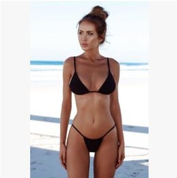 Wholesale floral halter top - New Sexy Bikini Swimwear simple Women Swimsuit Set Solid Halter Top Beach wear Bathing Suits For Women triangle bag Biquini S&XL Swimsuit