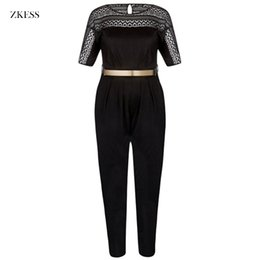 Wholesale Lace Rompers Xs - ZKESS Women Plus Size Black Lace Patchwork Jumpsuits with Waistbelt O Neck Fashion Casual Party Loose Rompers Playsuits LC64374