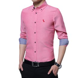 24af3cbefeeea DUDALINA 2017 Brand Homens Masculina Cotton Men s Long Sleeve Slim Fit  Embroidery Dress Shirt Oxford Textile Plus Size M-5XL affordable plus size  oxford ...